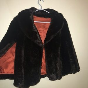 Jackets & Blazers - Black fur poncho